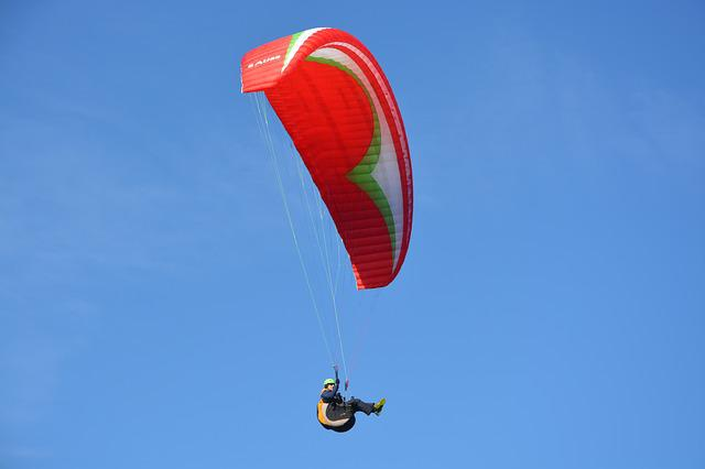 Paragliding, Red Sail, Paraglider, Blue Sky, Air