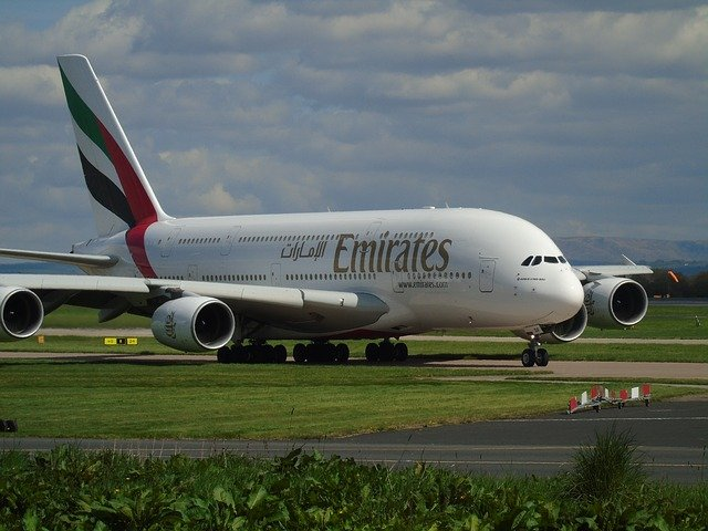 Aircraft, Emirates, A380, Travel, Flight, Plane