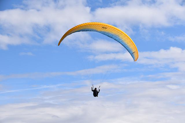 Paragliding, Paraglider, Aircraft, Cloudy Sky, Thermal