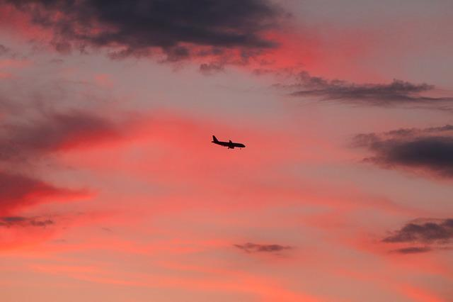 Aircraft, Sky, Clouds, Sunset, Flight, Evening Sky