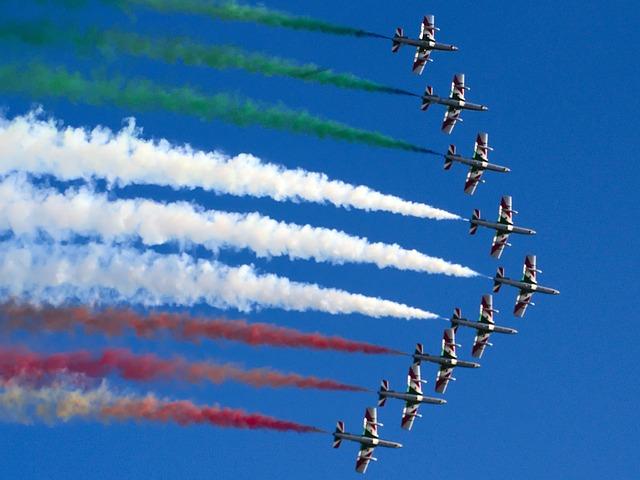 Frecce Tricolori, Aircraft, Sky, Stunt