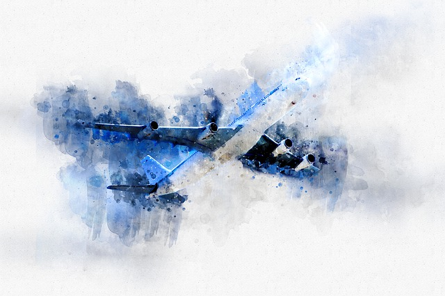 Plane, Air, Watercolor, Fly, Airport, Aircraft, Sky