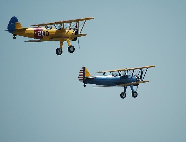 Bi-planes, Aircraft, Airshow, Sky, Plane, Airplane