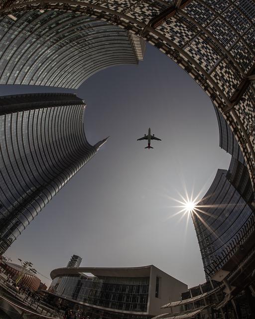 Plane, City, Architecture, Airplane, Travel, Sky, Urban