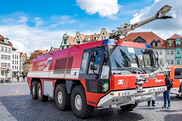 Fire, Airport Firefighter, Erfurt, Cathedral Square