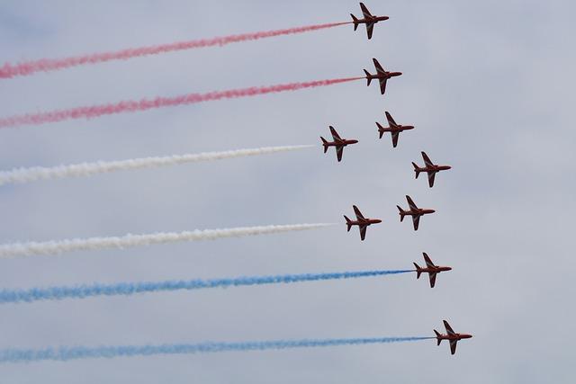 Red Arrows, Red, Arrows, Plane, Airshow, Air Display
