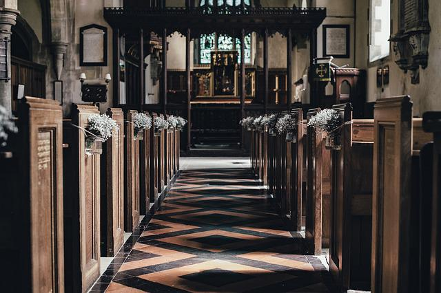 Aisle, Altar, Building, Church, Indoors, Seats, Wood
