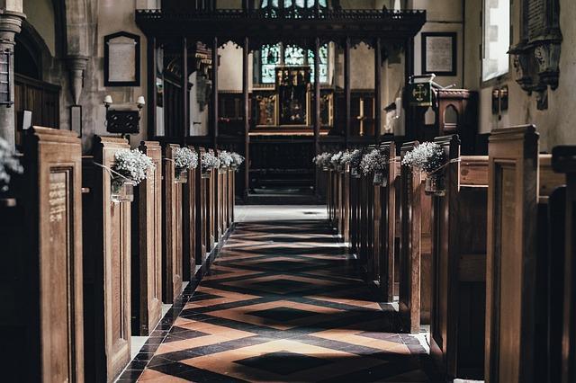 Aisle, Altar, Building, Church, Indoors, Seats, Wood