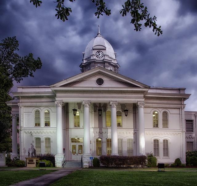 Courthouse, Alabama, Building, Architecture, Sunset