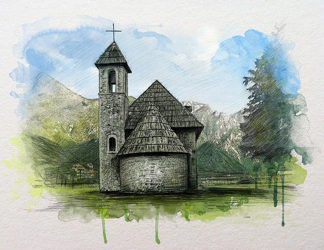 Theth, Albania, Watercolor, Painting, Mountain