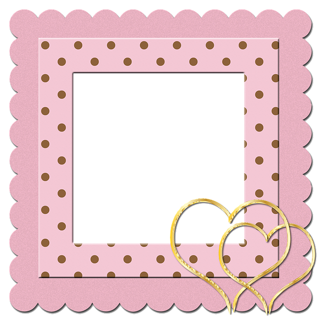 Frame, Album, Scrapbook, Blank, Heart, Gold, Golden