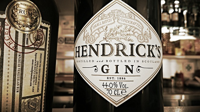 Hendrick's, Gin, Label, Bottle, Alcohool, Bar