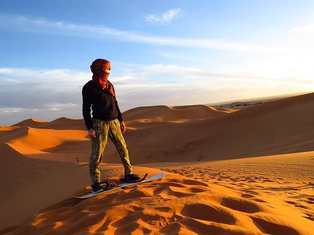 Morocco, Algeria, Desert, Sand Dunes, Sandboarding
