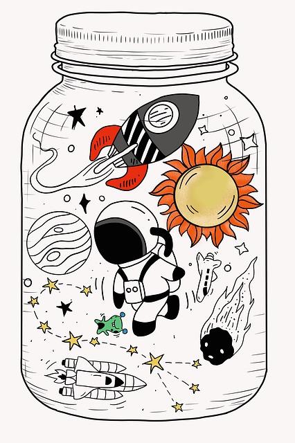 Astronaut, Drawing, Planet, Constellation, Alien