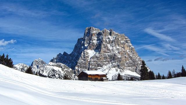 Mount Pelmo, Alleghe, Dolomites, Snow, Winter, Ski