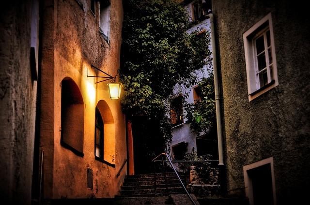 Illuminated Lantern, Alley, Stairs, Old Town, Nighttime