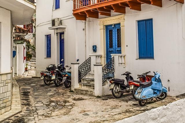 Greece, Skopelos, Chora, Street, Alley, Motor Bikes