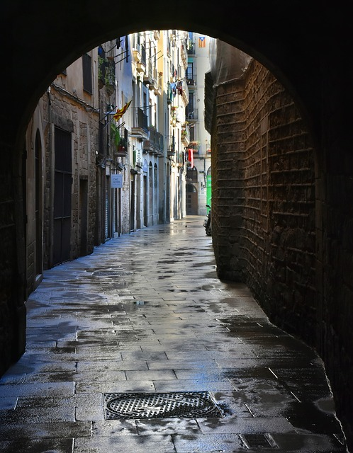 Goal, Alley, Passage, Wet, Atmospheric, Atmosphere