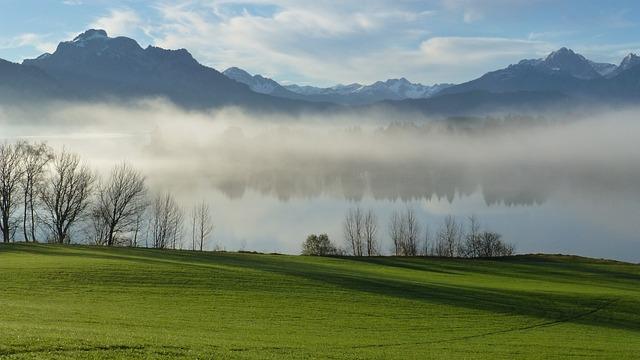 Allgäu, Lake Forggensee, Autumn, Mist, Tegelberg