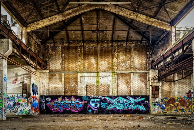 Lost Places, Factory, Hall, Man, Alone, Graffiti