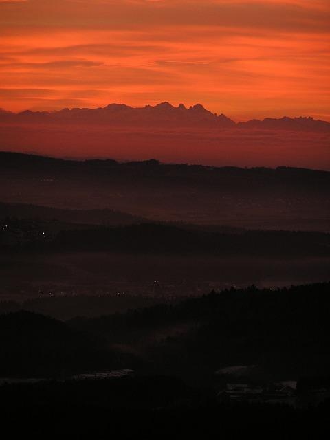 Sunrise, Alpenblick, View, Horizon, Landscape, Alpine