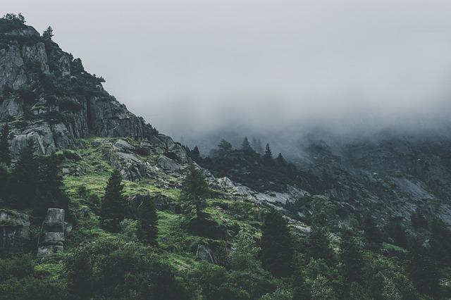 Alpine, Cliff, Clouds, Sunrise, Daylight, Fog, Gloomy