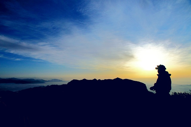Four People With, Silhouette, Alpine