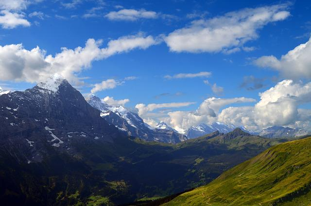 Alpine, Panorama, Eiger, Monk, Virgin, Meadow, Rock