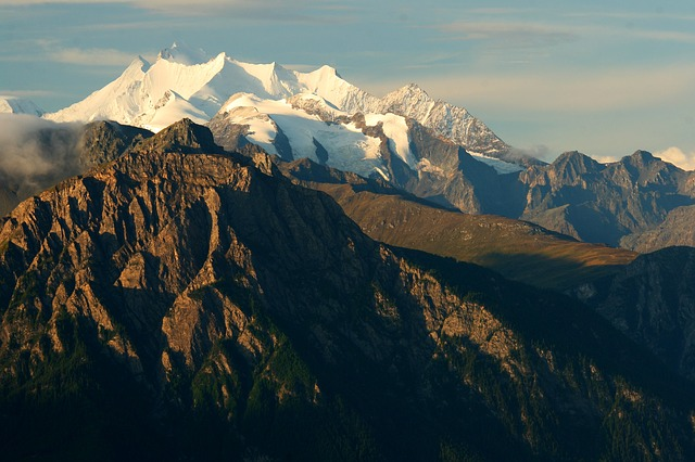 Summit In Morning Light, Alpine, Valais, Morning Sun