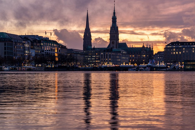Hamburg, Alster, Sunset, Burning, Sky, Atmospheric