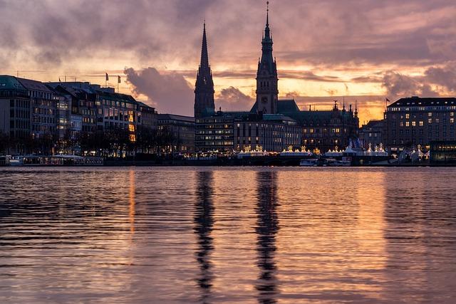 Hamburg, Alster, Sunset, Burning, Sky, Atmospheric