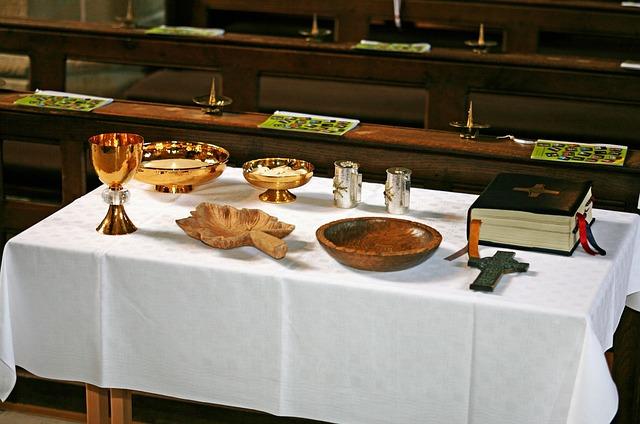 Communion, Altar, Catholic, Church, Cup