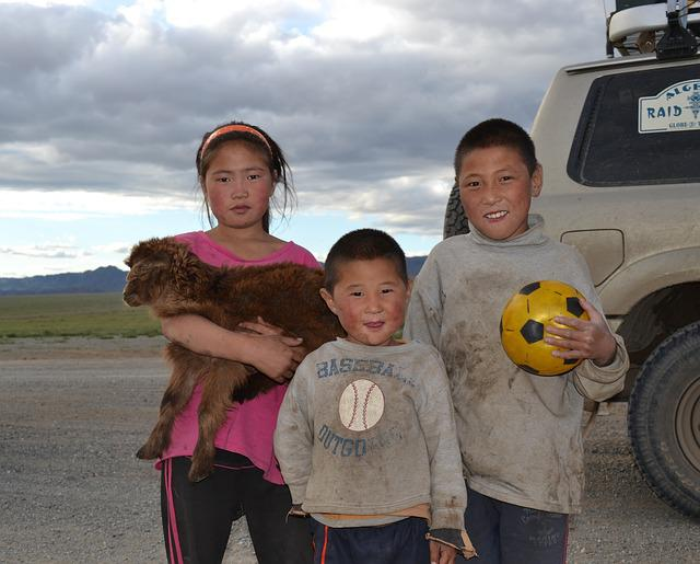 Children, Mongolia, Altay, Steppe