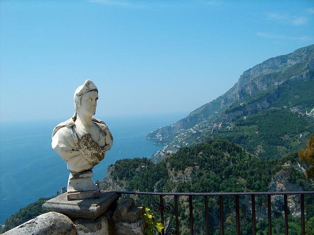 Figure, Bust, View, Amalfi Coast, Ravello