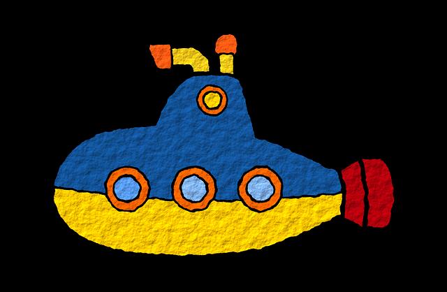 Amarillo, Blue, El Mar, Mar, Sea, Sub, Submarine, Toy