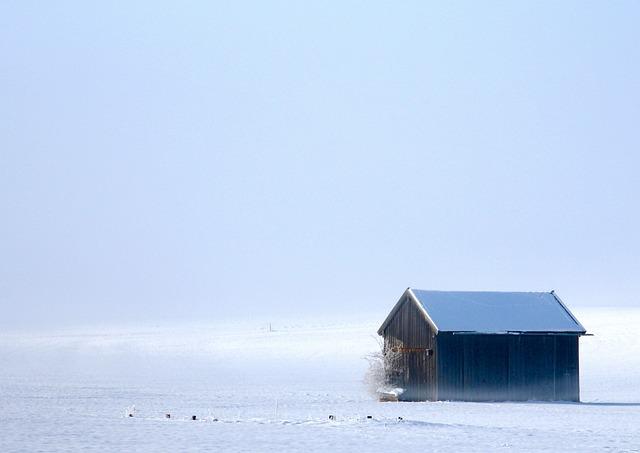 Winter, Caban, Snow, Minimalism, Landscape, Ambar