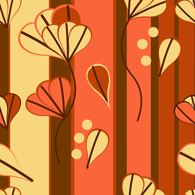 Amber, Yellow, Stripes, Leaves, Floral, Retro, Brown