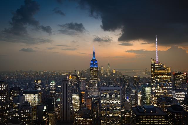 City, Skyline, Skyscraper, New York, Usa, America