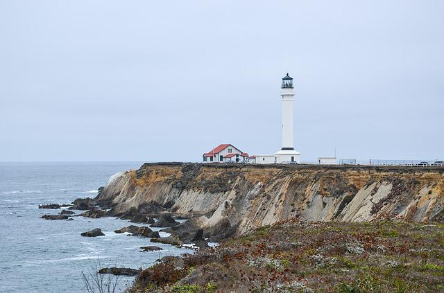 Usa, America, California, Lighthouse, Coast, Pacific