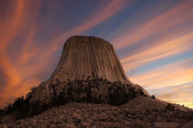 Devils Tower, Rock, Wyoming, Monument, America