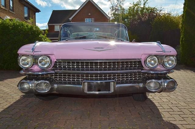 American 50's Car, Pink Cadillac, Cadillac, Classic Car