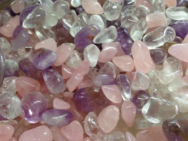 Amethyst, Rock Crystal, Rose Quartz