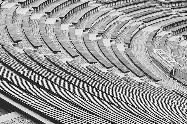 City, Architecture, Amphitheater, Black And White