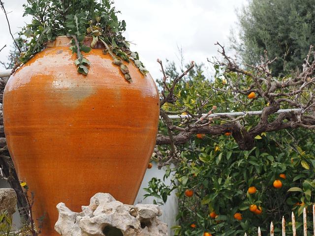 Amphora, Decoration, Flower Stand, Terracotta