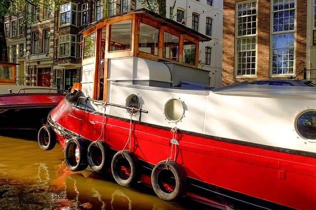 Barge, Houseboat, Boat, Canal, Waterway, Amsterdam