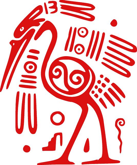 Ibis, Bird, Mexican, Tribal, Aztec, Ancient