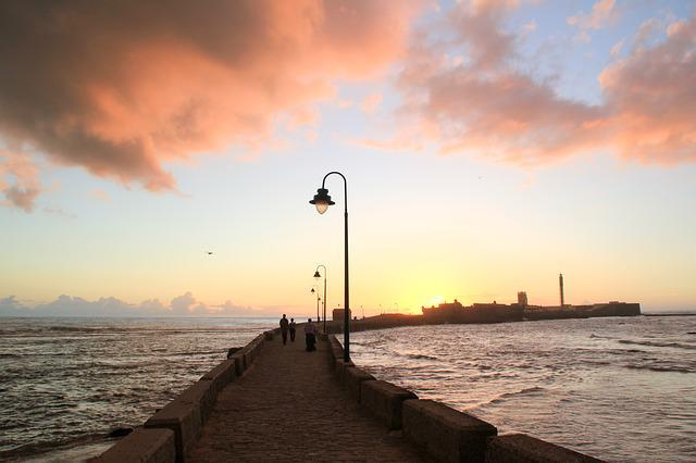 Cadiz, Andalusia, Spain, Sunset, Body Of Water, Sun