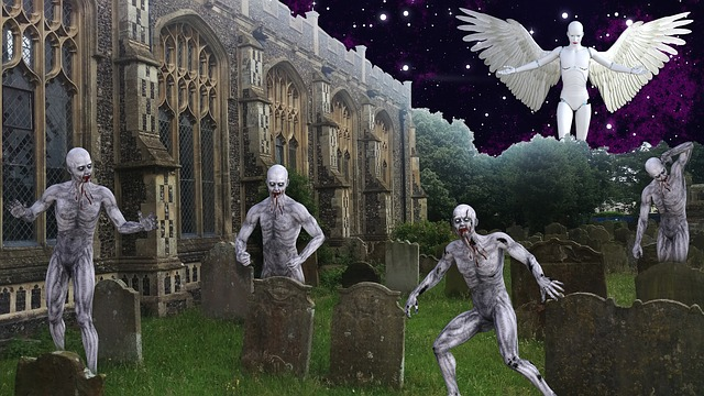 Graveyard, Zombie, Angel, Undead, Death, Fear