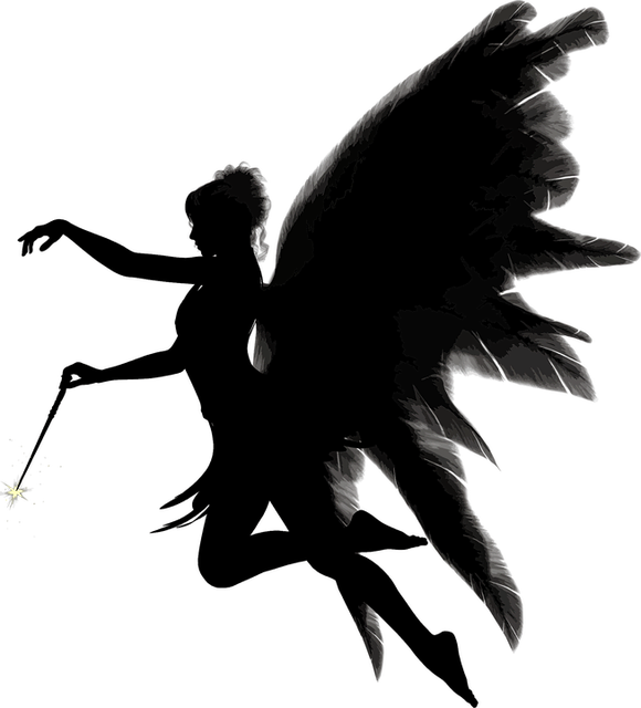 Angel, Feathers, Female, Magic Wand, Silhouette, Wings