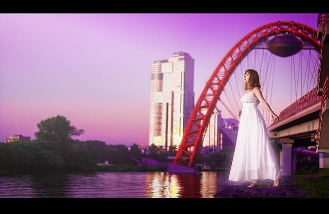 Girl, Angel, The Picturesque Bridge, Moscow, Purple